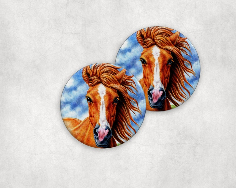 Drink Coaster Sets Horse Country Absorbent Ceramic Drink or image 0