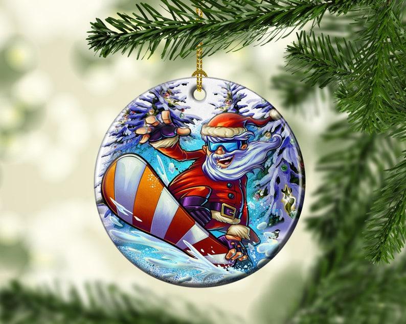 Porcelain Snowboarding Santa Christmas Ornament Extreme image 0