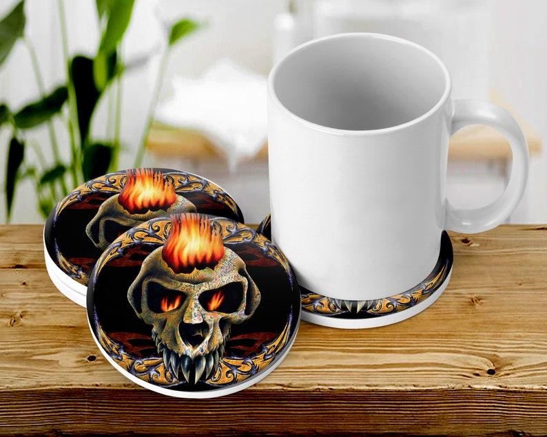 Tattooed Skull Coaster Set Flaming Skull Absorbent Corked image 0