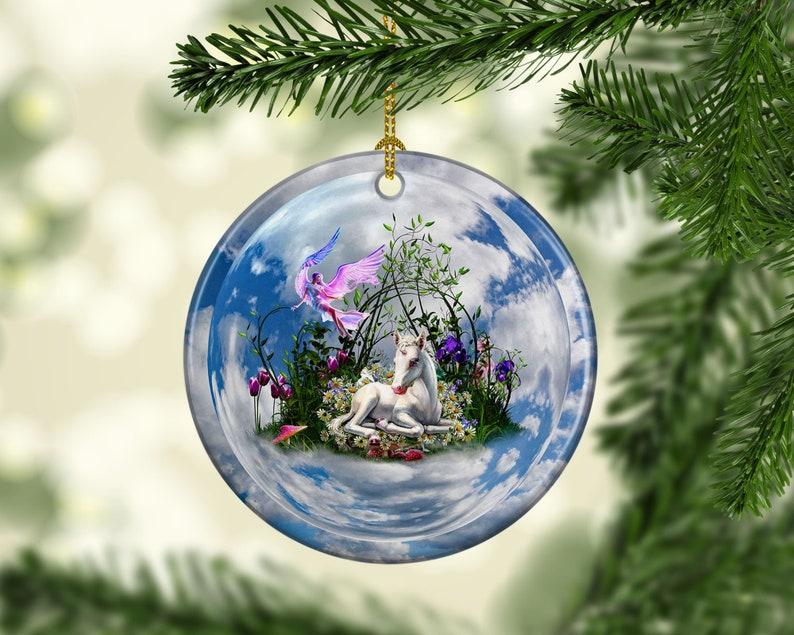Porcelain Fairy Unicorn Christmas Tree Ornament Mystical image 0
