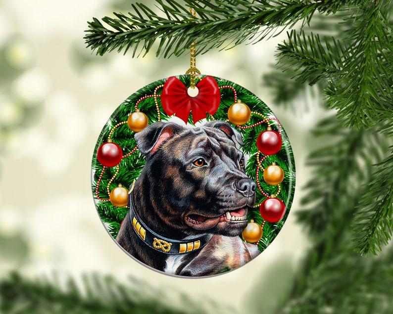 Pitbull Porcelain Christmas Tree Dog Ornament American image 0