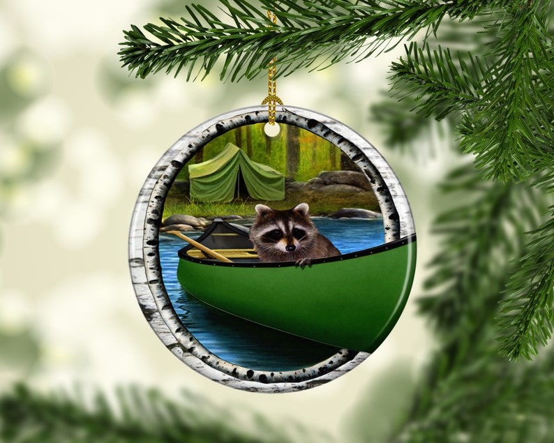 Rustic Raccoon Christmas Ornament Porcelain Woodlands image 0