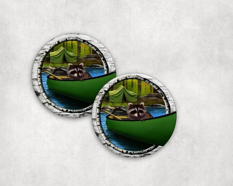 Drink Coaster Set Rustic Raccoon in Canoe Absorbent Ceramic image 0