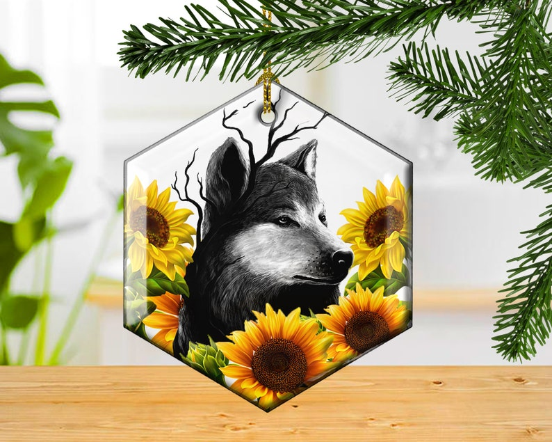 Wolf Decorative Glass Ornament Woodlands Rustic Wolf and image 0