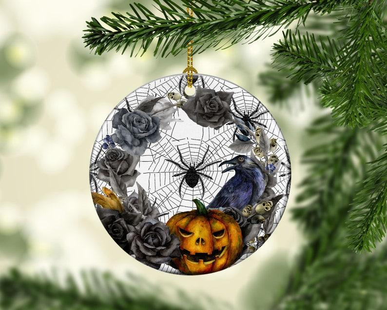 Halloween Tree Porcelain Ornament Spider Primitive Pumpkin image 0