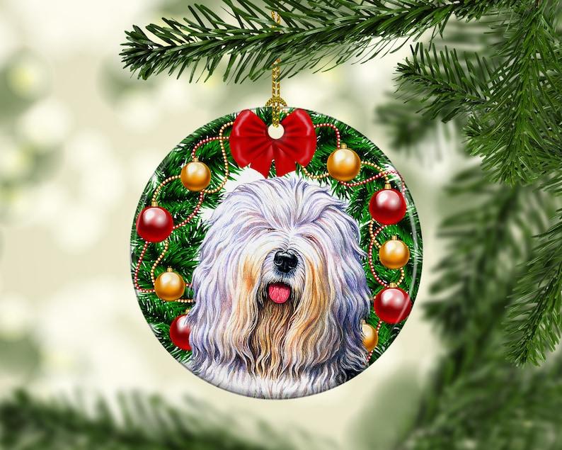 English Sheepdog Porcelain Christmas Tree Dog Ornament image 0