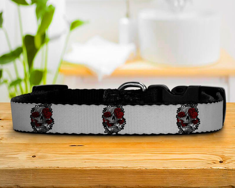 Adjustable Dog Collars Gothic Skulls and Roses Black and image 0