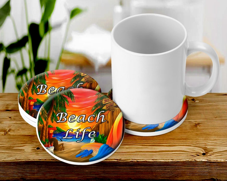 Beach Life Coaster Set Beach House Themed Table Decor image 0
