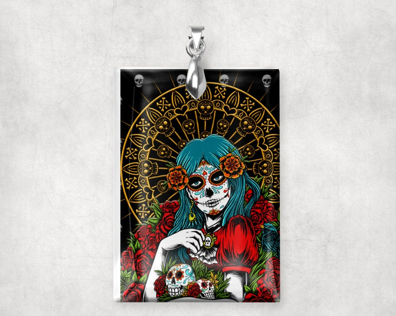 Day of the Dead Glass Crystal Charm Pendant Large Rectangle image 0