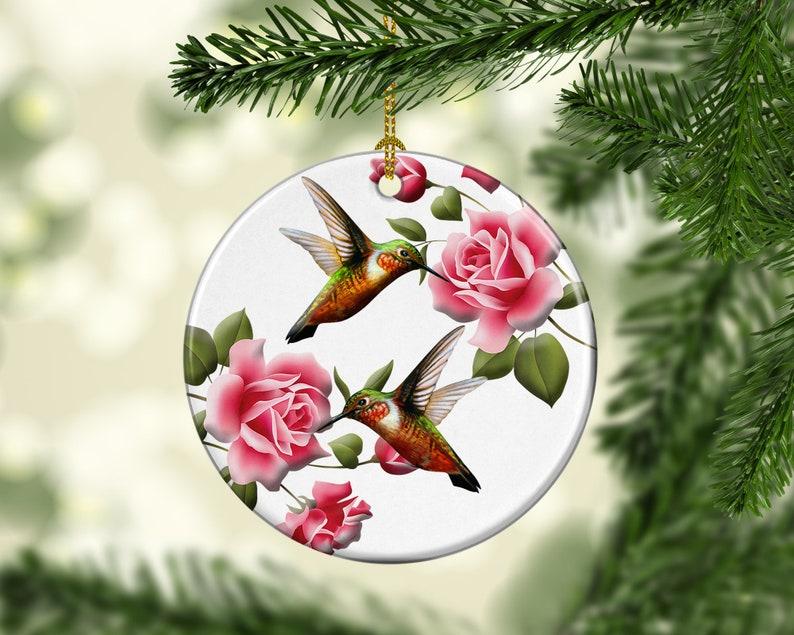Floral Hummingbird Porcelain Ornaments Custom Home Decor image 0