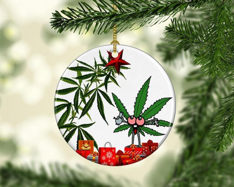 Marijuana Pot Leaf Porcelain Christmas Ornaments Funny Stoner image 0
