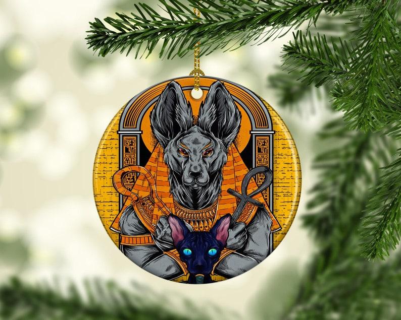 Porcelain Anubis Christmas Tree Ornament Egyptian Themed image 0