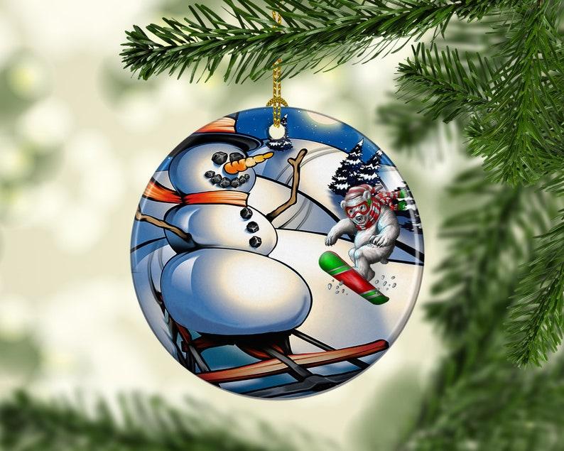 Porcelain Snowboard Polar Bear Snowman Christmas Ornament image 0