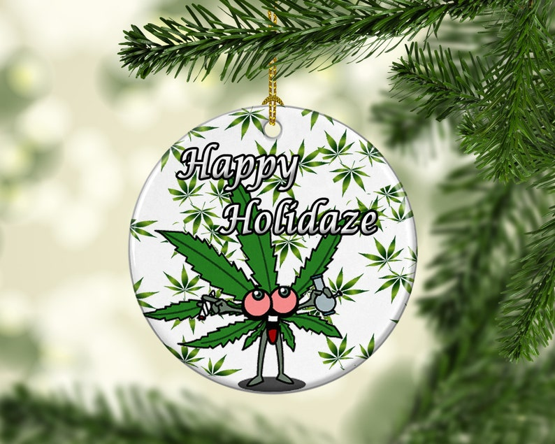 Porcelain Marijuana Weed Christmas Tree Ornament Snowflake image 0