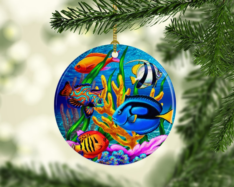 Porcelain Tropical Fish Christmas Tree Ornament Beach Ocean Sea Life Themed Xmas Gifts Keepsake Gifts Holiday Decor Unique Gifts