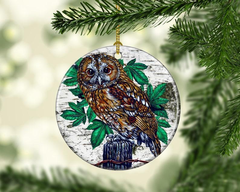 Porcelain Owl Custom Christmas Tree Ornaments Nature and image 0
