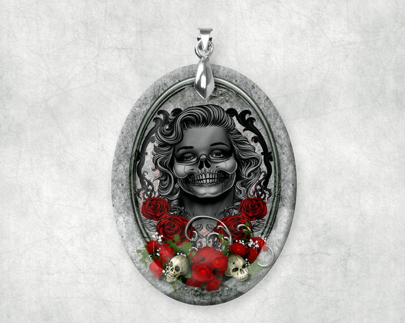 Gothic Crystal Sugar Skull with Roses Large Pendant Charm image 0