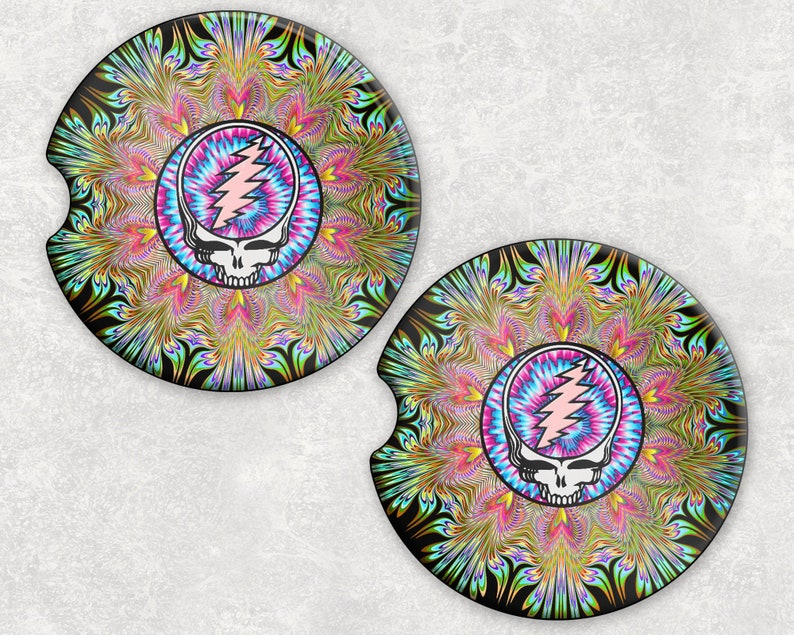 Car Coaster Set Dead Head Inspired  Sandstone Ceramic image 0