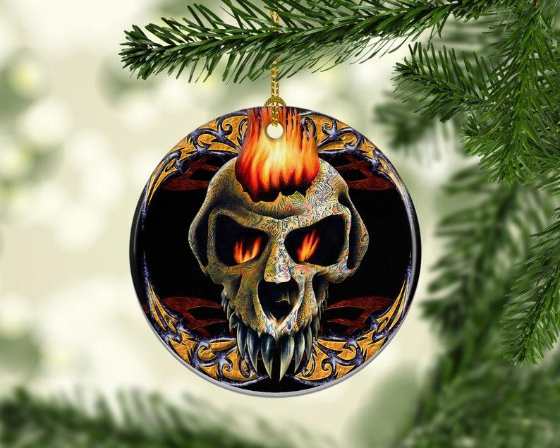 Porcelain Skull Tattoo Christmas Tree Ornaments Christmas image 0