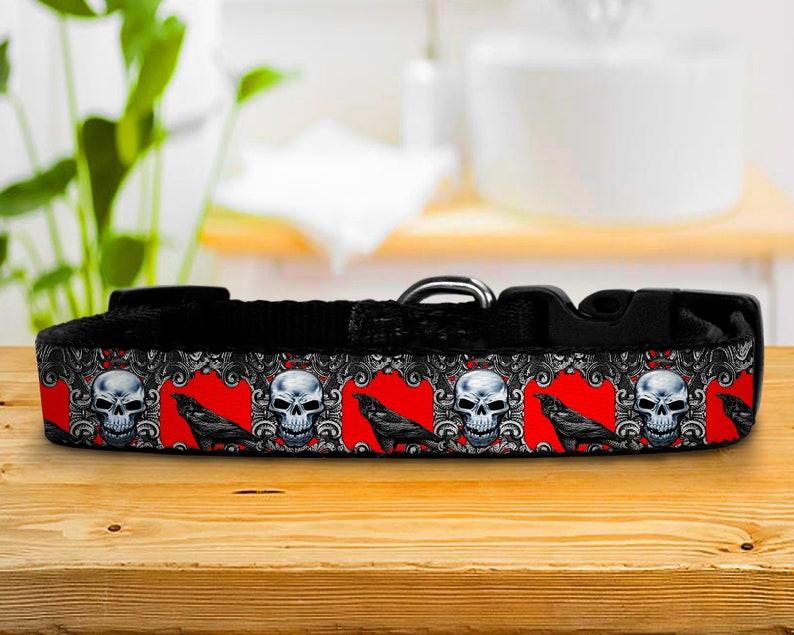 Adjustable Dog Collars Gothic Skulls and Ravens Custom image 0