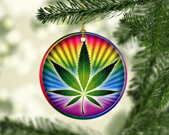 marijuana porcelain pot leaf christmas tree ornaments etsy marijuana porcelain pot leaf christmas tree ornaments psychedelic pot leaf rainbow tie dye porcelain stoner keepsake ornament gifts