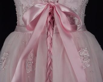 Pink Wedding Princess Corset Sweetheart Dress/ Prom Ballerina Sweet 16 Party Tutu Dress/Tea Length Crystals Pearls Beading/US14/UK18/EU44