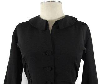 VTG 40s 50s Black Sheath Dress MCM Madmen Rockabilly Peter Pan Collar Size L-XL