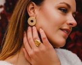 Modern Disc Earrings, Round Gold Earrings, Statement Earrings, Lightweight, Gift for Women, Gift for her