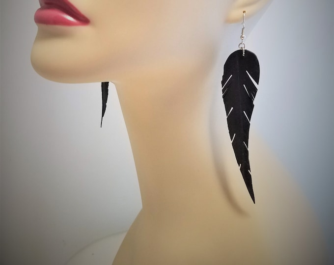 Featured listing image: Up-cycled Inner Tube Feather Earrings