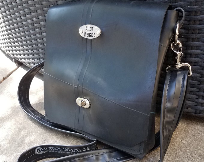 Featured listing image: Cross Body Messenger Bag Handmade from Up-cycled Inner Tube