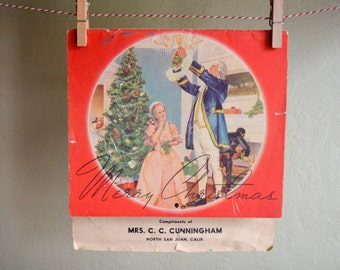 Vintage 1941 Advertising Calendar, Red & White Food Stores, Grocery Store Christmas Giveaway