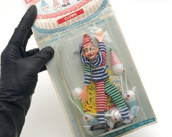 Vintage Clown Cake Decorations, Clown Cupcake Toppers, Gay-Gem Products, 1960s