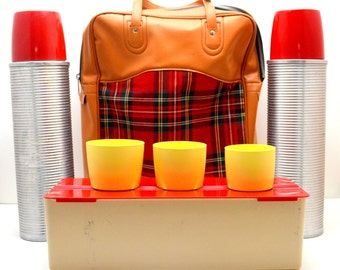 Vintage Thermos Picnic Set in Red Tartan Vinyl Case, Two Thermos Grand Vacuum Bottles, Thermos Lunch Box, Mid Century