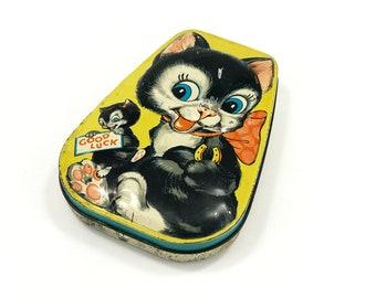 Vintage Black Cat Tin, George W. Horner Advertising Tin, Good Luck Cat, Metal Candy Box, circa 1930s-1950s