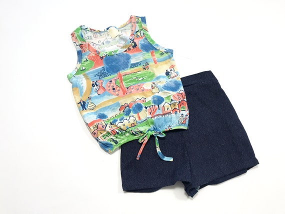 Vintage Girl's Shorts and Top Set, Summer Print K… - image 1