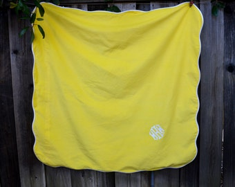"""Vintage Yellow Tablecloth, Monogrammed, 48"""" Square, Card Table Size, Yellow and White, The Galante Studio, circa 1960s"""