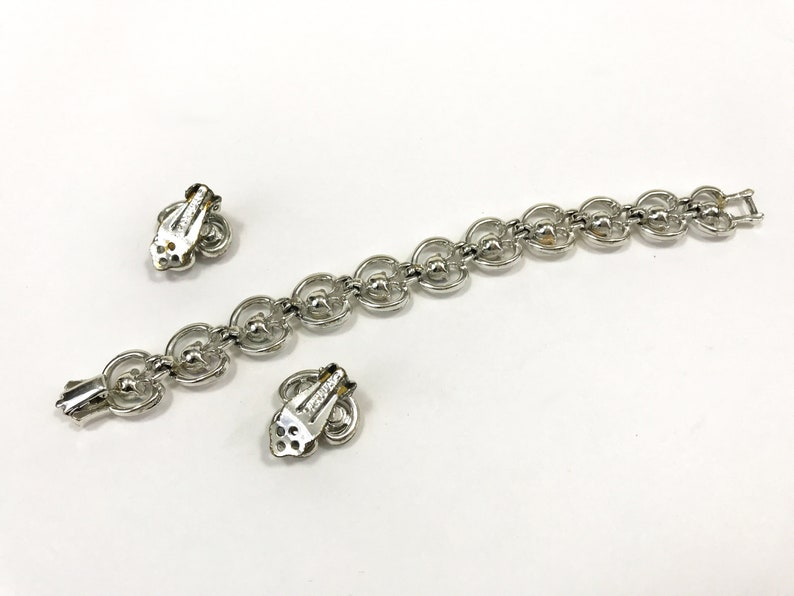Clover Clip Earrings Aurora Borealis Rhinestone Silver Tone Link Bracelet Vintage Signed Pakula Bracelet and Earrings Set