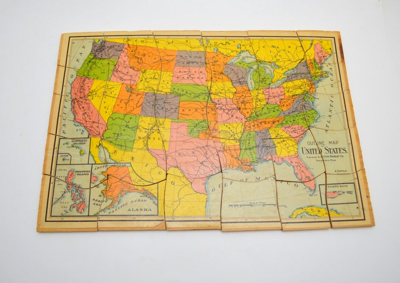 Antique United States Map Wood Puzzle, Milton Bradley Outline Map of the  U.S. Jigsaw Puzzle, 30 Pieces, circa early 1900s