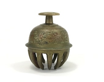 Vintage Brass Claw Bell, Etched Flower and Vine Design, Bronze Elephant Bell