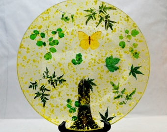 Vintage Resin Plate with Real Yellow Butterfly and Leaves, Clear Lucite or Acrylic Serving Platter with MOP Flecks, 1960s