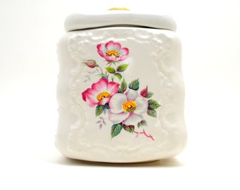 Vintage House of Webster Biscuit or Cookie Jar, Briar Rose, Small White Ceramic Jar with Floral Design, circa 1970s-1980s