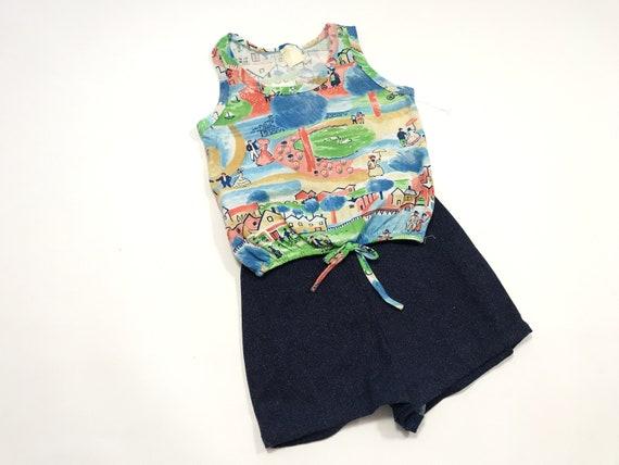 Vintage Girl's Shorts and Top Set, Summer Print K… - image 7