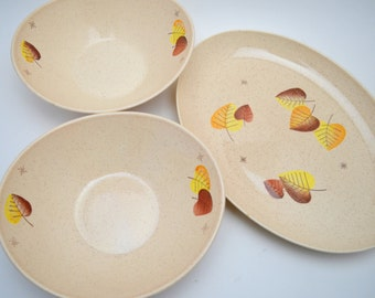 Mid Century Vernon Ware Sherwood 3 Piece Serving Set, 2 Vegetable Bowls, 1 Platter, Fall Leaves, Brown and Gold, 1950s