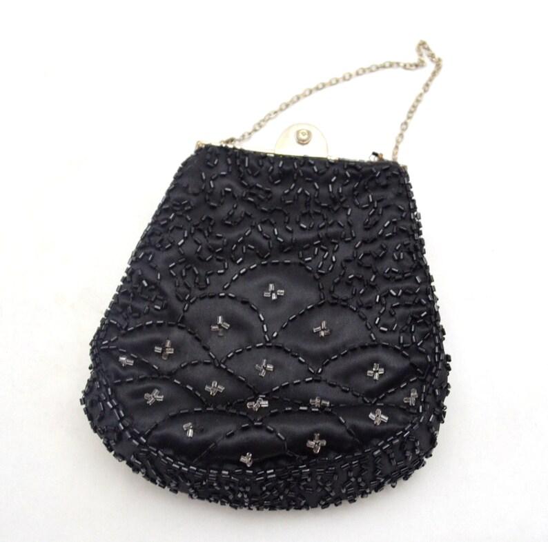 Art Deco Search For Flights Antique Art Deco Crochet Jet Black Fringe Mirror Reticule Fringe Bead Purse