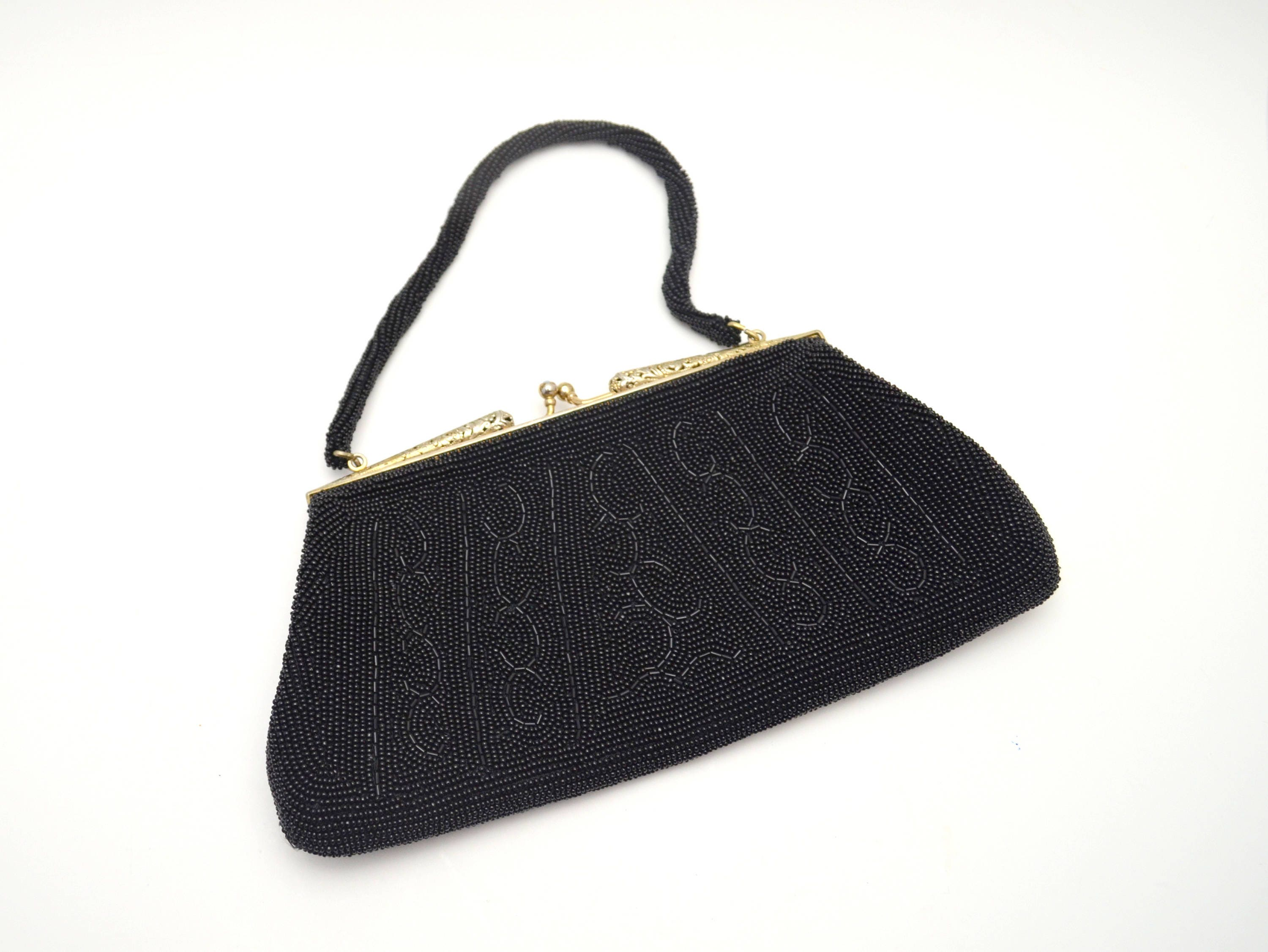 2856e7d5b5b60 Vintage Black Evening Bag Beaded Purse with Rhinestone Clasp