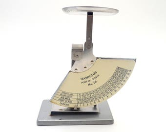 Vintage Hamilton Postal Scale No. 16, Vintage Office Supply, Small Letter Scale, 16 oz Scale, circa 1960s
