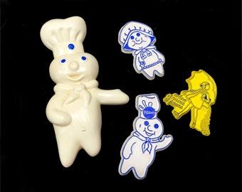 Vintage Refrigerator Magnets, Pillsbury Dough Boy, Poppin Poppie Fresh, Morton Salt, 1980s