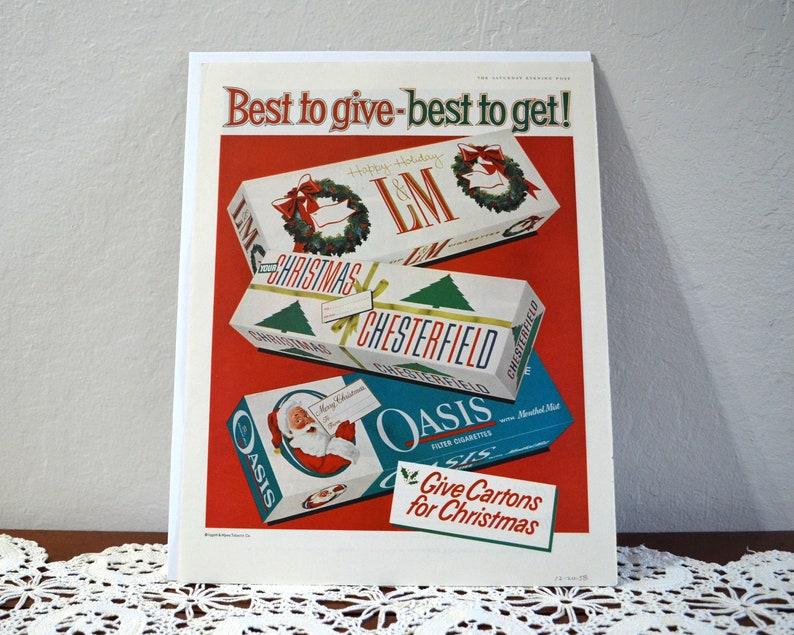 4c41af35 Vintage Chesterfield Cigarettes Christmas Ad Metropolitan | Etsy