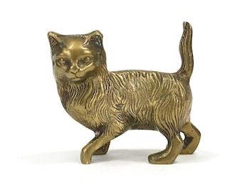 Vintage Solid Brass Cat Figurine, Walking Cat, Tail Up, Textured Fur