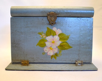 Vintage Wood Jewelry Box, Hand Painted with Floral Design, Light Teal with Pink Satin Lining, Cottage Chic